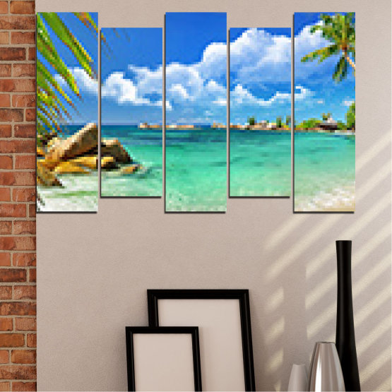 Canvas prints & wall decorative panels - 5 pieces №0654 » Red, Blue, Turquoise, Gray, White » Sea, Water, Beach, Bay, Sky, Rocks Form #3