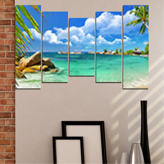 Canvas prints & wall decorative panels - 5 pieces №0654 » Red, Blue, Turquoise, Gray, White » Sea, Water, Bay, Beach, Sky, Rocks Form #4