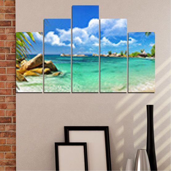 Canvas prints & wall decorative panels - 5 pieces №0654 » Red, Blue, Turquoise, Gray, White » Sea, Water, Beach, Bay, Sky, Rocks Form #5