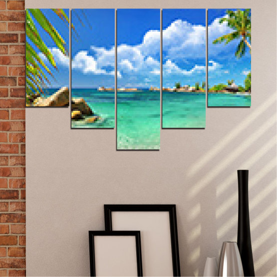 Canvas prints & wall decorative panels - 5 pieces №0654 » Red, Blue, Turquoise, Gray, White » Sea, Water, Beach, Bay, Sky, Rocks Form #6