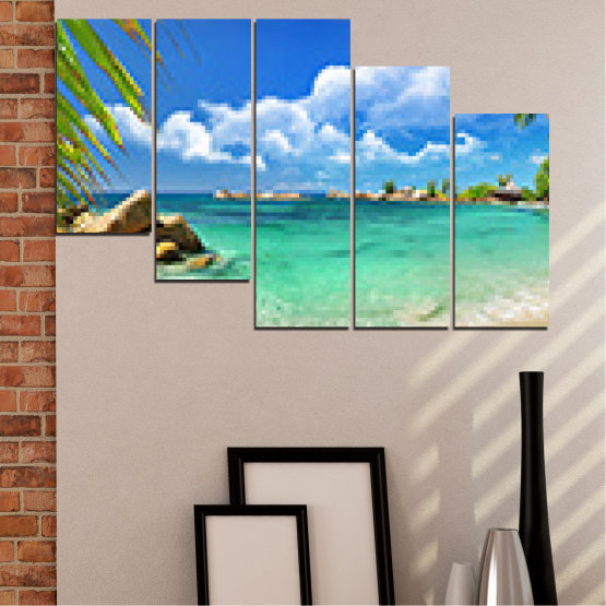 Canvas prints & wall decorative panels - 5 pieces №0654 » Red, Blue, Turquoise, Gray, White » Sea, Water, Beach, Bay, Sky, Rocks Form #7