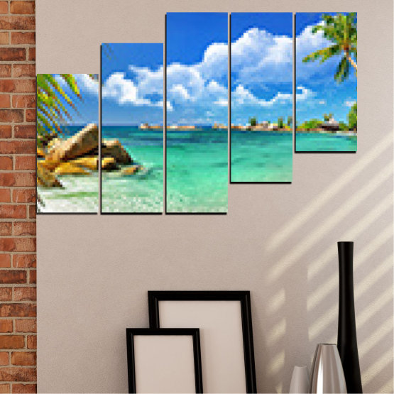 Canvas prints & wall decorative panels - 5 pieces №0654 » Red, Blue, Turquoise, Gray, White » Sea, Water, Beach, Bay, Sky, Rocks Form #8