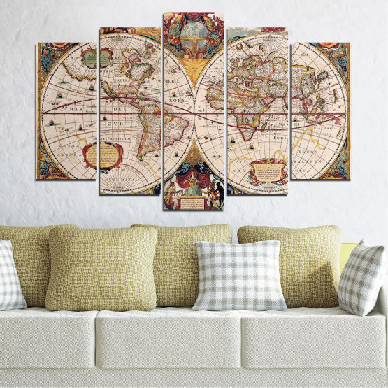 Canvas prints & wall decorative panels - 5 pieces №0655 » Brown, Gray, Beige, Dark grey » Collage, Geography, Map Form #1