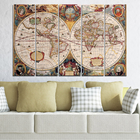 Canvas prints & wall decorative panels - 5 pieces №0655 » Brown, Gray, Beige, Dark grey » Collage, Geography, Map Form #2