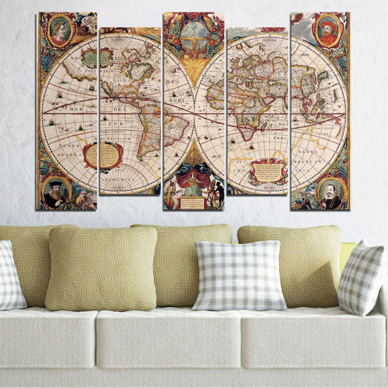 Canvas prints & wall decorative panels - 5 pieces №0655 » Brown, Gray, Beige, Dark grey » Collage, Geography, Map Form #3