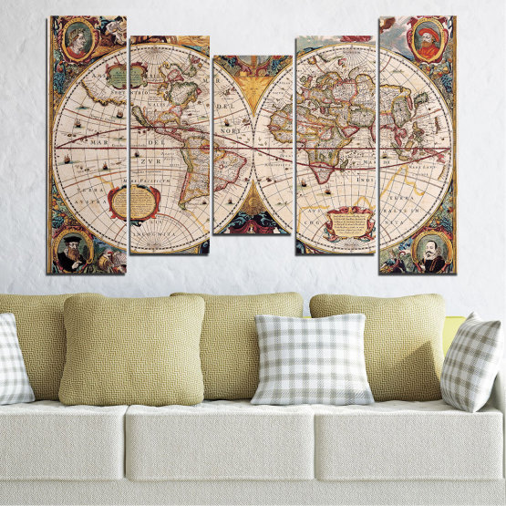 Canvas prints & wall decorative panels - 5 pieces №0655 » Brown, Gray, Beige, Dark grey » Collage, Geography, Map Form #4