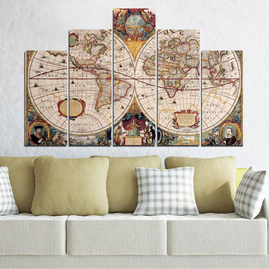 Canvas prints & wall decorative panels - 5 pieces №0655 » Brown, Gray, Beige, Dark grey » Collage, Geography, Map Form #5