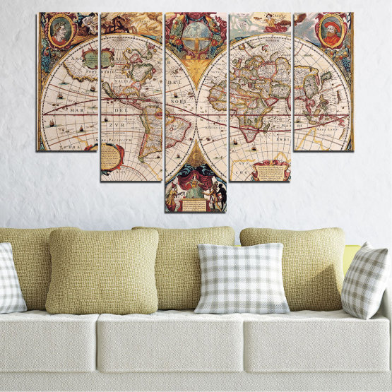Canvas prints & wall decorative panels - 5 pieces №0655 » Brown, Gray, Beige, Dark grey » Collage, Geography, Map Form #6