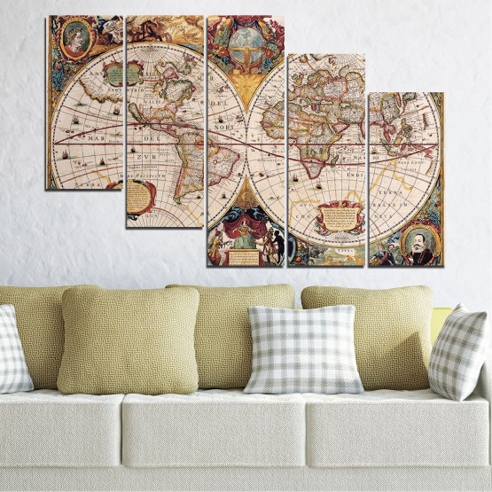 Canvas prints & wall decorative panels - 5 pieces №0655 » Brown, Gray, Beige, Dark grey » Collage, Geography, Map Form #7
