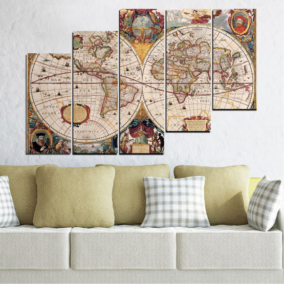 Canvas prints & wall decorative panels - 5 pieces №0655 » Brown, Gray, Beige, Dark grey » Collage, Geography, Map Form #8