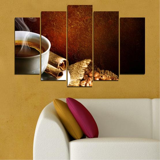 Декоративни панели и картини от канава - от 5 части №0656 » Червен, Кафяв, Черен, Сив » Кулинарен, Кафе, Напитка Form #1