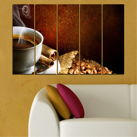 Canvas prints & wall decorative panels - 5 pieces №0656 » Red, Brown, Black, Gray » Culinary, Coffee, Drink Form #2