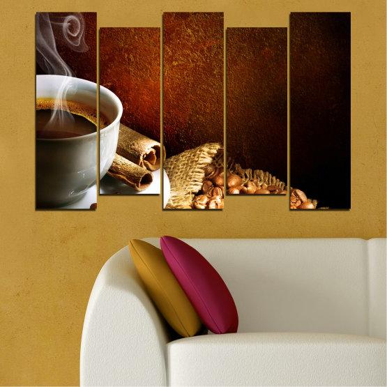 Декоративни панели и картини от канава - от 5 части №0656 » Червен, Кафяв, Черен, Сив » Кулинарен, Кафе, Напитка Form #3