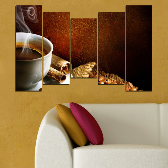 Декоративни панели и картини от канава - от 5 части №0656 » Червен, Кафяв, Черен, Сив » Кулинарен, Кафе, Напитка Form #4