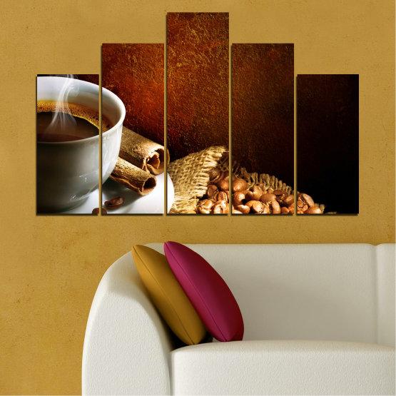 Декоративни панели и картини от канава - от 5 части №0656 » Червен, Кафяв, Черен, Сив » Кулинарен, Кафе, Напитка Form #5