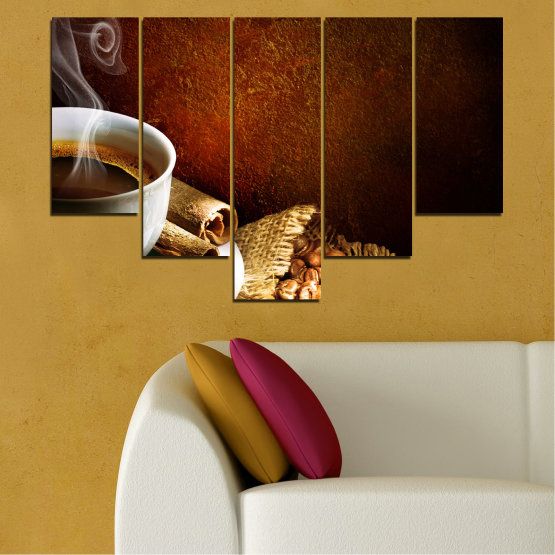 Canvas prints & wall decorative panels - 5 pieces №0656 » Red, Brown, Black, Gray » Culinary, Coffee, Drink Form #6