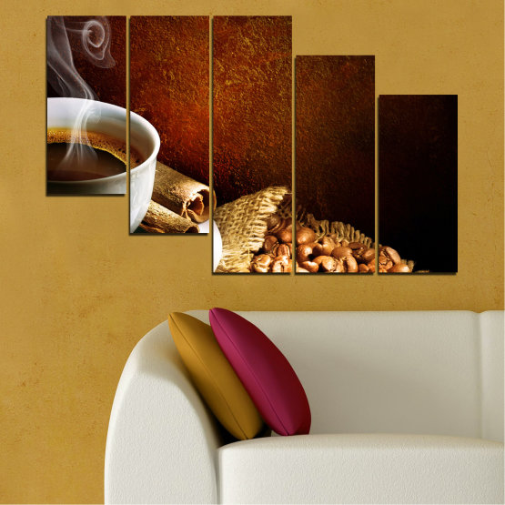 Декоративни панели и картини от канава - от 5 части №0656 » Червен, Кафяв, Черен, Сив » Кулинарен, Кафе, Напитка Form #7