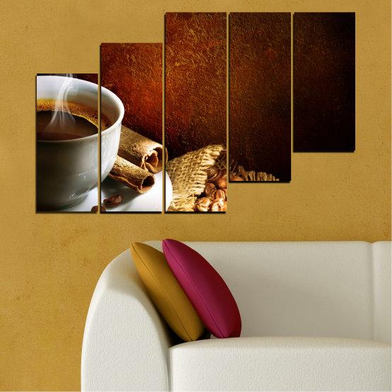 Декоративни панели и картини от канава - от 5 части №0656 » Червен, Кафяв, Черен, Сив » Кулинарен, Кафе, Напитка Form #8