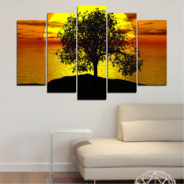 Water, Sunset, Sun, Bay, Tree, Shadow » Yellow, Orange, Brown, Black
