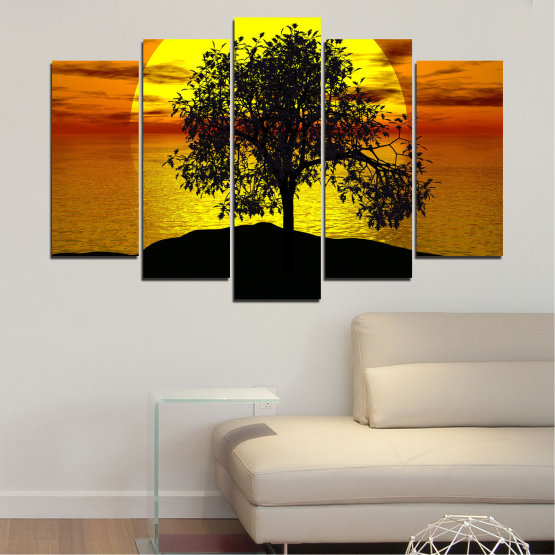 Canvas prints & wall decorative panels - 5 pieces №0657 » Yellow, Orange, Brown, Black » Water, Sun, Sunset, Bay, Tree, Shadow Form #1