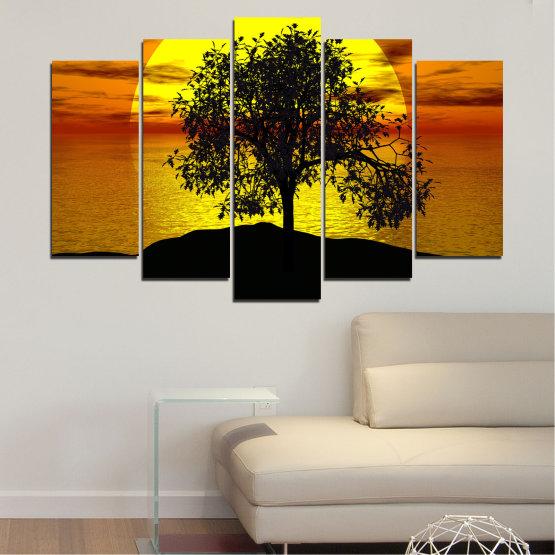 Декоративни панели и картини от канава - от 5 части №0657 » Жълт, Оранжев, Кафяв, Черен » Залез, Вода, Слънце, Залив, Дърво, Сянка Form #1