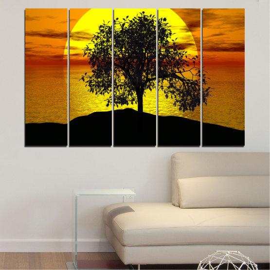 Декоративни панели и картини от канава - от 5 части №0657 » Жълт, Оранжев, Кафяв, Черен » Залез, Вода, Слънце, Залив, Дърво, Сянка Form #2