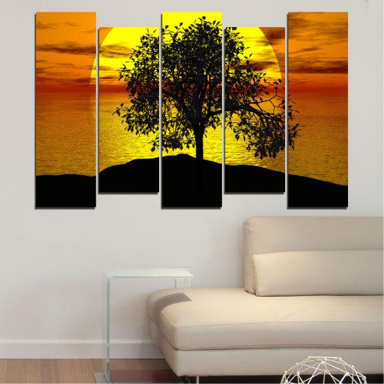 Декоративни панели и картини от канава - от 5 части №0657 » Жълт, Оранжев, Кафяв, Черен » Залез, Вода, Слънце, Залив, Дърво, Сянка Form #3