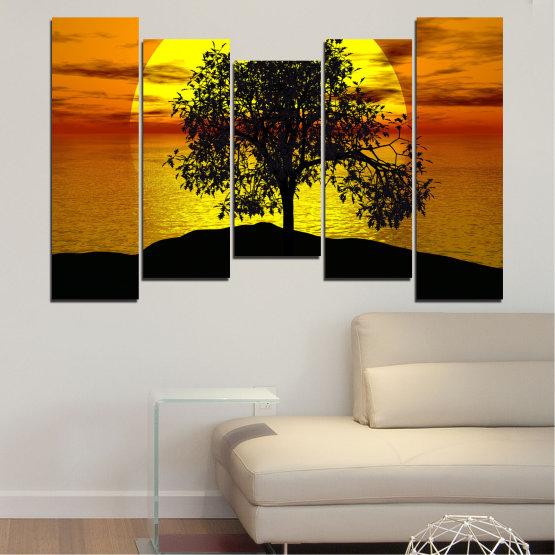 Декоративни панели и картини от канава - от 5 части №0657 » Жълт, Оранжев, Кафяв, Черен » Залез, Вода, Слънце, Залив, Дърво, Сянка Form #4