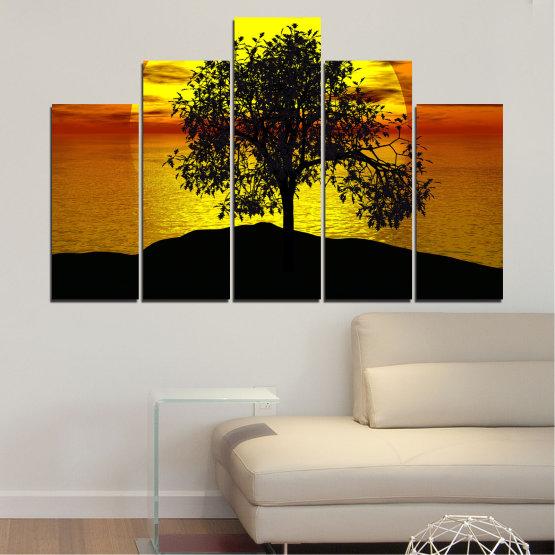 Декоративни панели и картини от канава - от 5 части №0657 » Жълт, Оранжев, Кафяв, Черен » Залез, Вода, Слънце, Залив, Дърво, Сянка Form #5