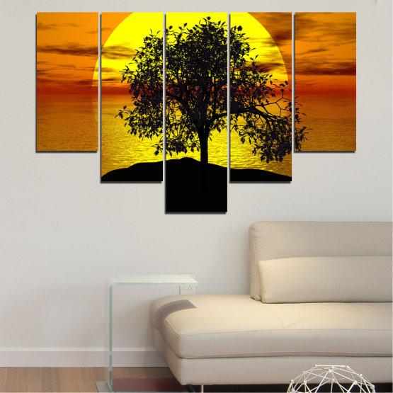 Декоративни панели и картини от канава - от 5 части №0657 » Жълт, Оранжев, Кафяв, Черен » Залез, Вода, Слънце, Залив, Дърво, Сянка Form #6