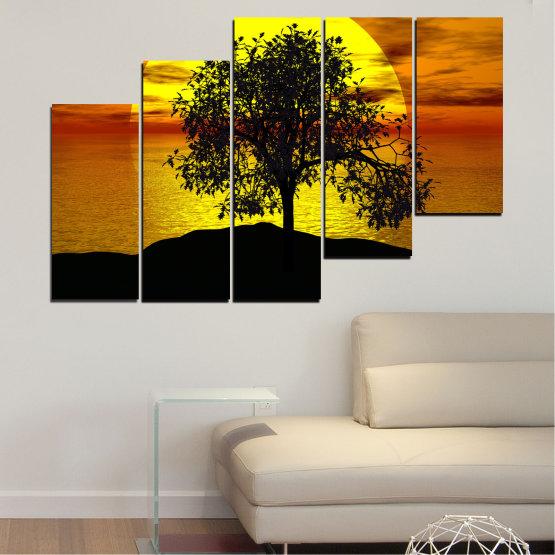 Декоративни панели и картини от канава - от 5 части №0657 » Жълт, Оранжев, Кафяв, Черен » Залез, Вода, Слънце, Залив, Дърво, Сянка Form #8