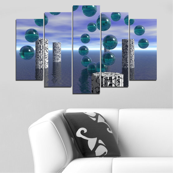 Canvas prints & wall decorative panels - 5 pieces №0658 » Purple, Gray, Dark grey » Abstraction, Water, Collage, Sphere, Ball Form #1
