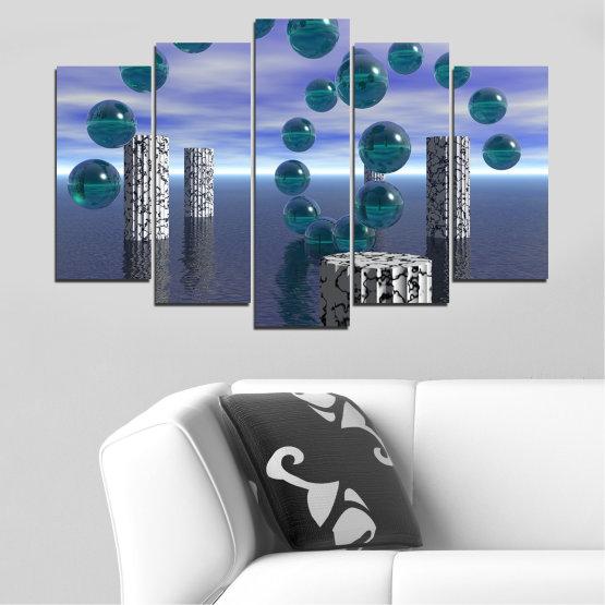 Декоративни панели и картини от канава - от 5 части №0658 » Лилав, Сив, Тъмно сив » Абстракция, Вода, Колаж, Сфера, Топка Form #1