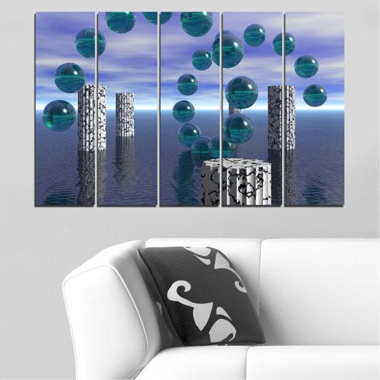Декоративни панели и картини от канава - от 5 части №0658 » Лилав, Сив, Тъмно сив » Абстракция, Вода, Колаж, Сфера, Топка Form #2