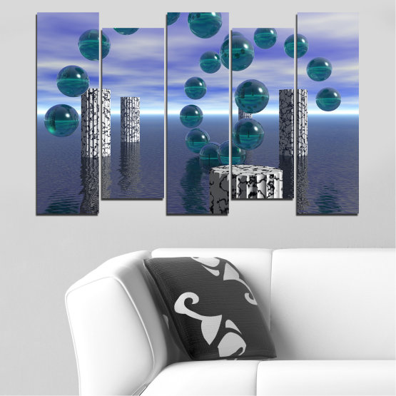 Canvas prints & wall decorative panels - 5 pieces №0658 » Purple, Gray, Dark grey » Abstraction, Water, Collage, Sphere, Ball Form #3