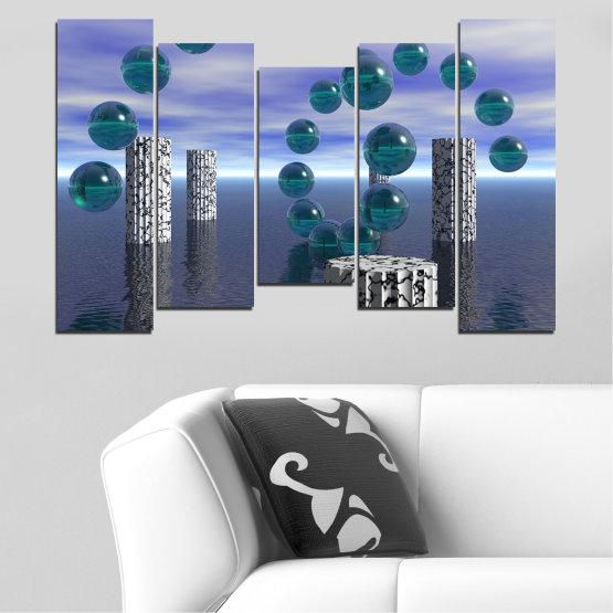 Декоративни панели и картини от канава - от 5 части №0658 » Лилав, Сив, Тъмно сив » Абстракция, Вода, Колаж, Сфера, Топка Form #4