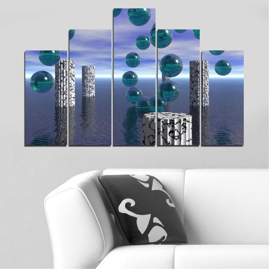 Canvas prints & wall decorative panels - 5 pieces №0658 » Purple, Gray, Dark grey » Abstraction, Water, Collage, Sphere, Ball Form #5