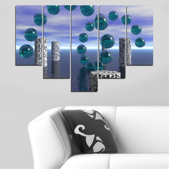 Canvas prints & wall decorative panels - 5 pieces №0658 » Purple, Gray, Dark grey » Abstraction, Water, Collage, Sphere, Ball Form #6