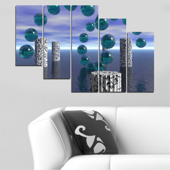 Canvas prints & wall decorative panels - 5 pieces №0658 » Purple, Gray, Dark grey » Abstraction, Water, Collage, Sphere, Ball Form #7