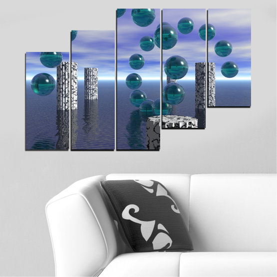 Canvas prints & wall decorative panels - 5 pieces №0658 » Purple, Gray, Dark grey » Abstraction, Water, Collage, Sphere, Ball Form #8
