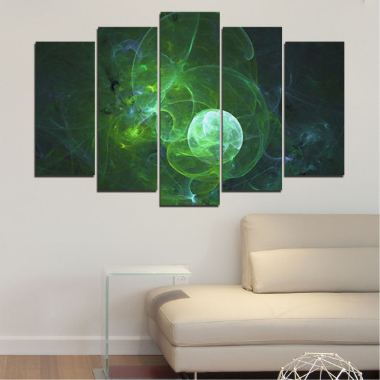 Canvas prints & wall decorative panels - 5 pieces №0659 » Red, Green, Black, Dark grey » Abstraction, Smoke, Sphere Form #1