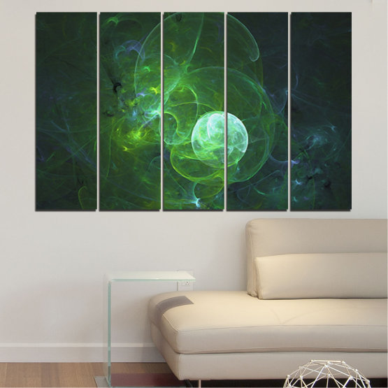 Canvas prints & wall decorative panels - 5 pieces №0659 » Red, Green, Black, Dark grey » Abstraction, Smoke, Sphere Form #2