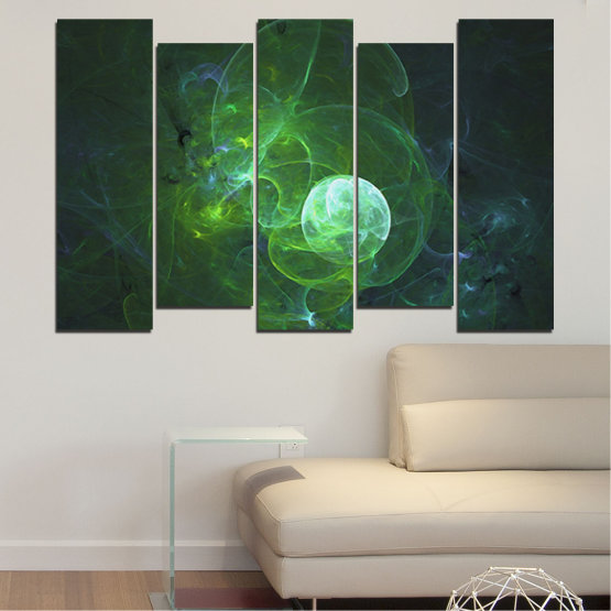 Canvas prints & wall decorative panels - 5 pieces №0659 » Red, Green, Black, Dark grey » Abstraction, Smoke, Sphere Form #3