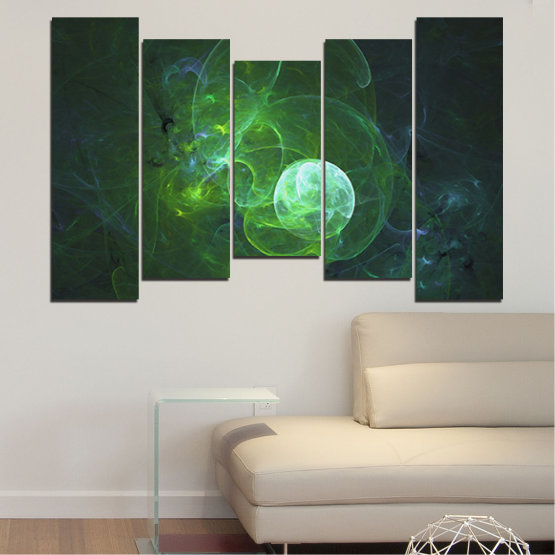 Canvas prints & wall decorative panels - 5 pieces №0659 » Red, Green, Black, Dark grey » Abstraction, Smoke, Sphere Form #4