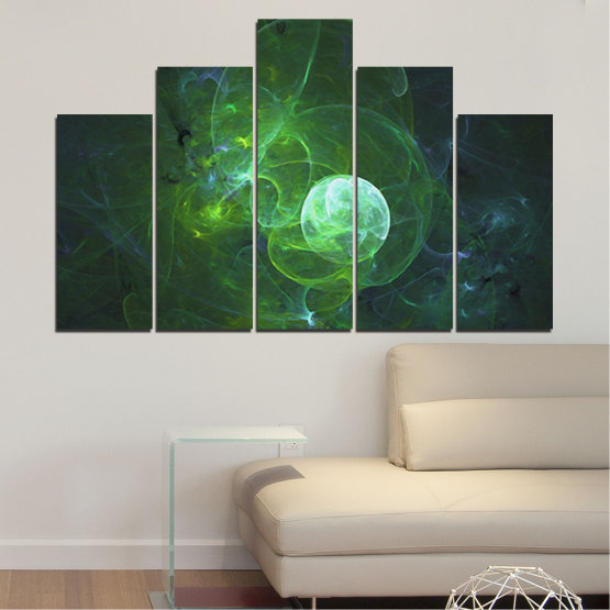 Canvas prints & wall decorative panels - 5 pieces №0659 » Red, Green, Black, Dark grey » Abstraction, Smoke, Sphere Form #5