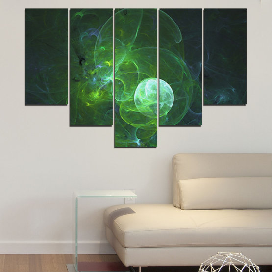 Canvas prints & wall decorative panels - 5 pieces №0659 » Red, Green, Black, Dark grey » Abstraction, Smoke, Sphere Form #6