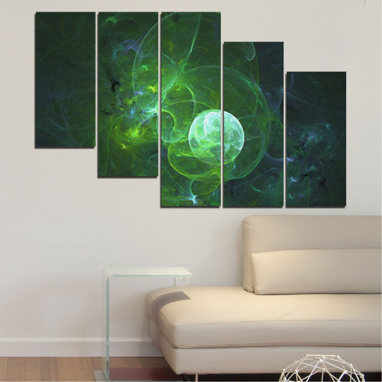 Canvas prints & wall decorative panels - 5 pieces №0659 » Red, Green, Black, Dark grey » Abstraction, Smoke, Sphere Form #7