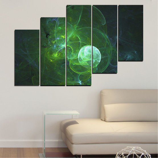 Canvas prints & wall decorative panels - 5 pieces №0659 » Red, Green, Black, Dark grey » Abstraction, Smoke, Sphere Form #8
