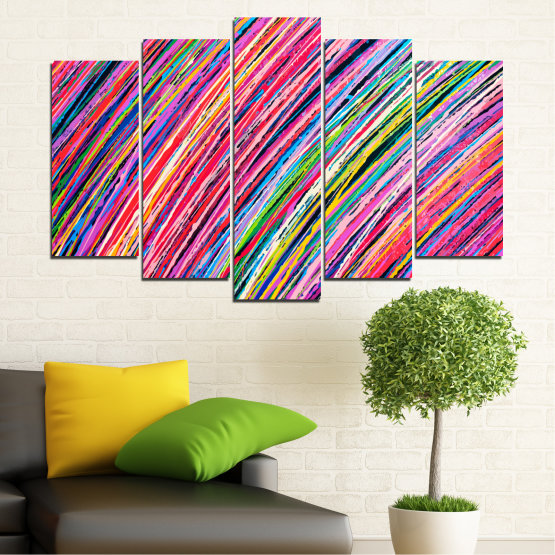 Canvas prints & wall decorative panels - 5 pieces №0066 » Red, Pink, Blue, Black, Milky pink » Abstraction, Colorful, Lines Form #1