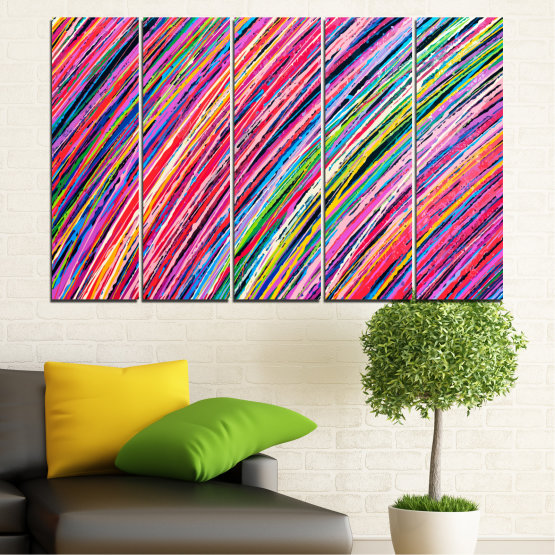 Canvas prints & wall decorative panels - 5 pieces №0066 » Red, Pink, Blue, Black, Milky pink » Abstraction, Colorful, Lines Form #2